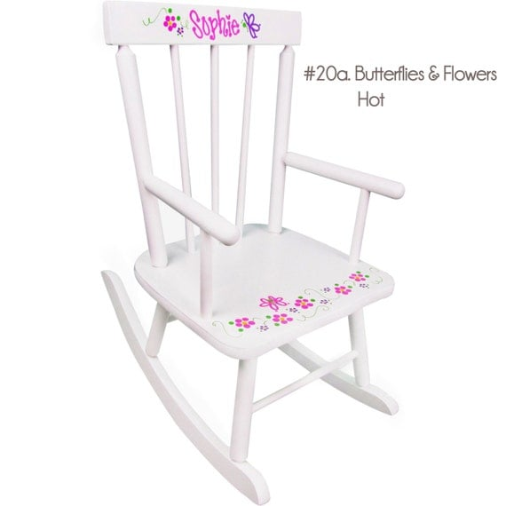 Personalized Childs Rocking Chair - Classic White Hand Painted Rocker ...