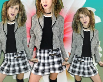 90s TV Static Rainbow Speckled Black and White Knit Blazer / Clueless / Cropped /