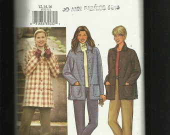 Butterick 3577 Ranch Hand Jackets with Large Patch Pockets and Collars Sizes 12.14.16. UNCUT
