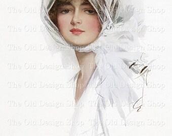 Harrison Fisher Beautiful Victorian Lady in White Scarf Vintage Art Digital Download JPG Image