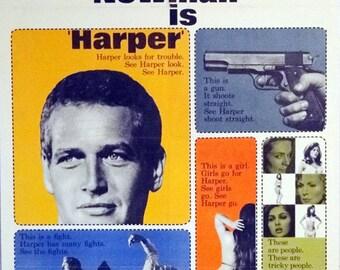"HARPER. 1966 U.S. Original 27"" x 41""  Movie Poster. Paul Newman,Lauren Bacall,Julie Harris,Janet Leigh, Shelley Winters Detective Movie."
