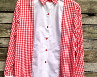 1950's Handmade Tailored Red and White Gingham Check Shirt Makers Shirt