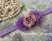 lilac floral Headband/Baby Headband/infant headband/Newborn Headband/Photo prop/Elastic Headband