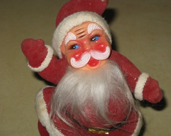 Vintage Santa Flocked Plastic Red Christmas Holiday Decoration 1960's ADORABLE
