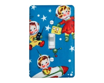 Space Nursery Light Switch Plate Cover /Vintage Retro Astronaut / Kids Boy Girl Playroom Bedroom/ Slightly Smitten Kitten