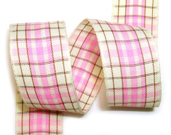 5meter  15mm Plaid Ribbon in Pink on Cream