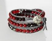 Red beaded wrap bracelet elegant leather wrap pearl triple wrap garnet bracelet christmas holiday wear bohemian bracelet
