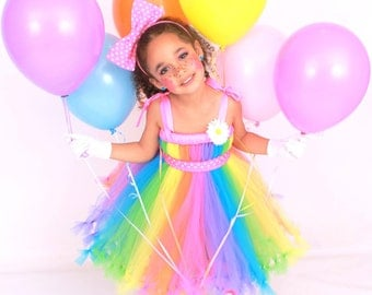 COMPLETE COSTUME: Ready to Ship - Petti Tutu Dress - Halloween or Birthday Clown Costume - Pastel Rainbow - Big Top Beauty - 5-6 Youth Girl