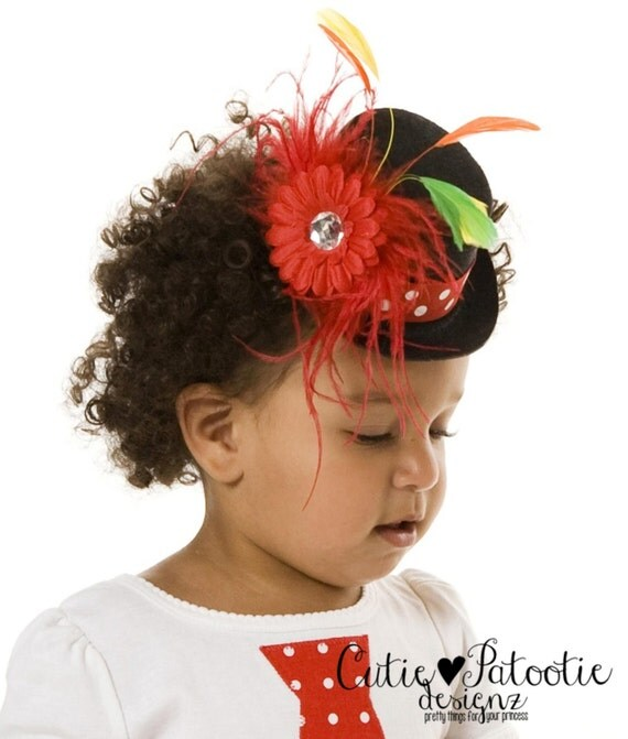 READY TO SHIP: Cutie Patootie Clown - Mini Top Hat Headband - Black & Red - Halloween or Birthday Clown Accessory - Fits toddler to adult