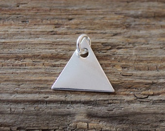 Silver Triangle Charm / 925 Sterling Silver / Geometric Silver Charm / Engraving / Hand Stamping