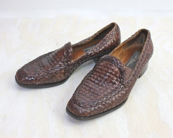 Vintage Italian Woven Leather Loafers Sz 7.5