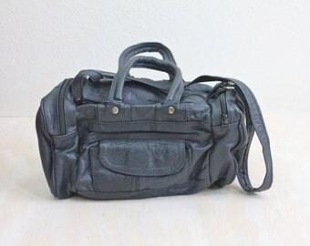 Vintage 80's Navy Leather Duffle Handbag Purse