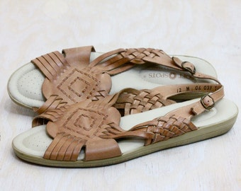 Vintage Caramel Leather Huarache Sandals Sz 12