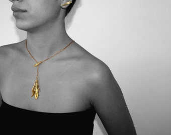 gold seed lariat, otto brass tree leaves necklace, biological necklace, minimal dangle seeds, autumn gift, contemporary jewelry, etsylove