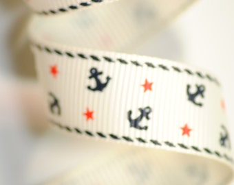 Anchors and Stars Grosgrain - 5/8 inch 16mm wide