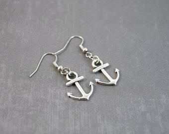 SALE Silver Anchor Earrings, Nautical Earrings, Anchor Jewelry, Beach Dangle Earrings, Beach Jewelry, Gifts Under 5, Simple Earrings