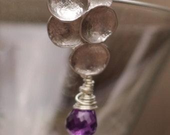Amethyst Earrings - Amethyst Sterling Silver Earrings - Amethyst Wire Wrapped Earrings - Purple Amethyst Earrings - Purple Gemstone Earrings