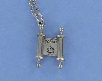 TORAH - Pewter Charm on a FREE Plated Chain