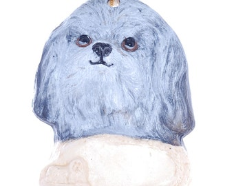 Grey and White Personalized Shih Tzu ornament - Dog Christmas Ornament - Handpainted Shih Tzu Ornament - You choice of Name on Plate  (d247)