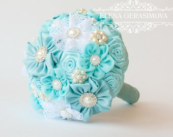 Brooch Bouquet. light blue Fabric Bouquet, Unique Wedding Bridal Bouquet