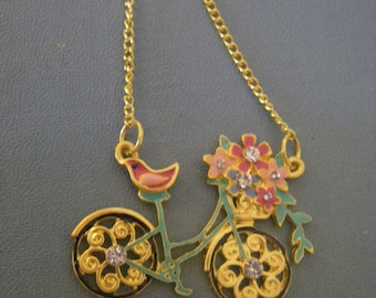 Paris In The Spring Necklace, Bicycle Necklace, Gold Necklace, spring jewelry