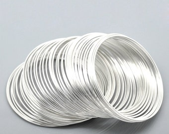 "200 Silver Memory Wire Bracelet or Earring Loops -  50 - 55mm  - 2"" - 2 1/8""   - Ships IMMEDIATELY  from USA - T42a"