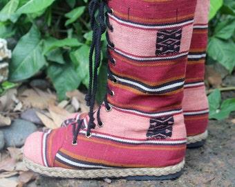 Ethnic Women's Combat Boots Tribal Naga Textiles Mid Calf Lace Up  - Britta