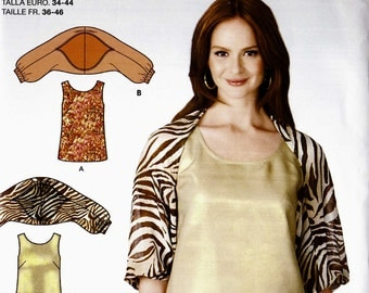 Simplicity 1744 Shoulder shrug jacket shawl and tank top Size 8-10-12-14-16-18 uncut