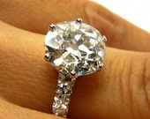 Reserved...1930s...3.28ct Antique Vintage Old EUROPEAN Round Cut  Diamond Engagement Ring in Platinum EGL USA Certified