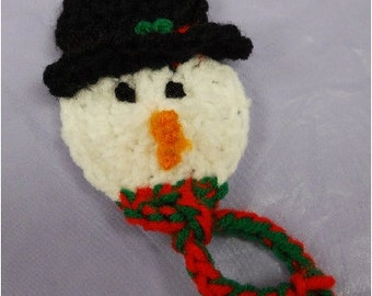 Crochet Snowman Pattern -  PDF Pattern - use as a lapel pin, tree ornament or package decoration