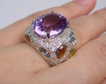 Sterling Amethyst & Multi Gemstone Encrusted Silver .925 Ring
