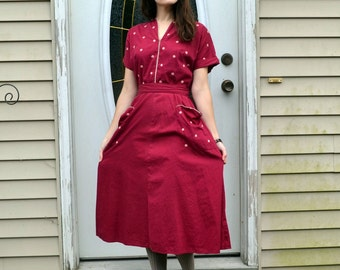 Raspberry 40's Wrap Dress / Cotton w/ Pockets