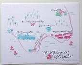 Mackinac Island Michigan art print state map