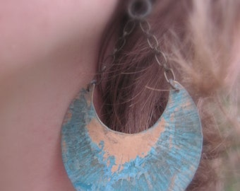 Blue Patina Brass Crescent with Chain Earrings