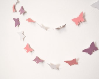 Paper garland in pink, lavender and white butterflies