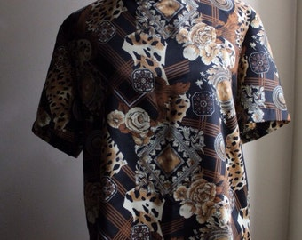 1990s Black Floral/Leopard Abstract Blouse