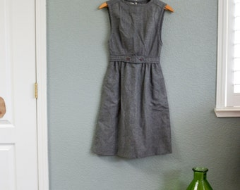 1960s XS/SML MOD gray mini empire waist dress