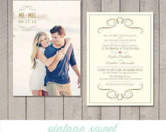 Modern Wedding Invitation (Printable) DIY by Vintage Sweet