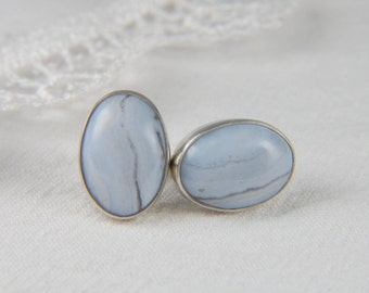 Blue Lace Agate Earrings Large Post Earrings Natural Stone Earrings Artisan Earrings Handmade Silver Earrings Artisan Jewelry