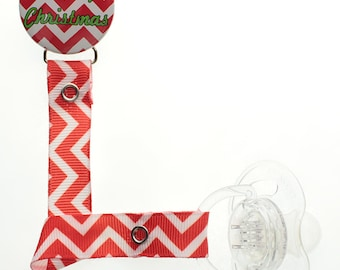 Red and White Chevron Christmas  Pacifier Clip (RHRW)