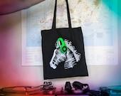 Soundwave Music Zebra in neon green headphones