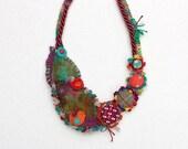 Fiber art bib necklace, crochet and felt jewelry with fabric buttons, burgundy green orange turquoise, OOAK
