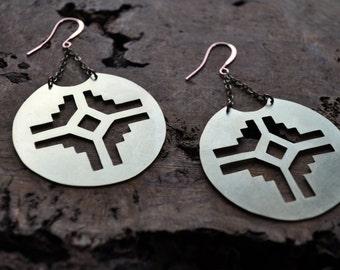 Sun Dial Aztec Metal Earrings