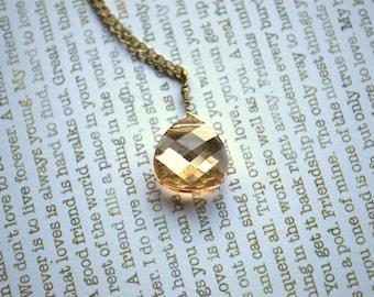 Swarovski Crystal Necklace -- Champagne Crystal Necklace, Golden Shadow Necklace, Golden Champagne Crystal Necklace