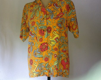 Vintage SUNG SPORT Shirt, Blouse Figural Elephants, Birds & Flowers, Yellow background, Vintage