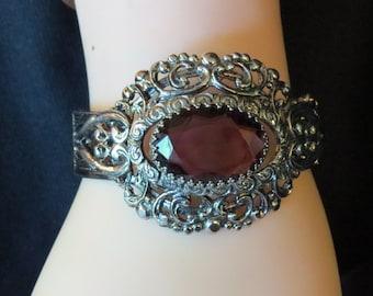 Vintage Whiting And Davis Ornate Filigree Purple Amethyst Rhinestone Wide Statement Victorian Revival Bracelet