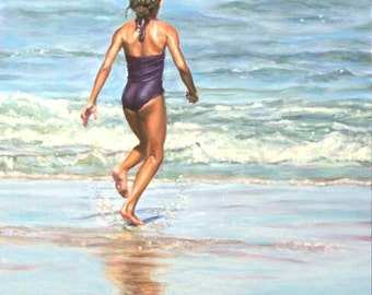 "Original Oil Painting: graceful young girl at the beach ""Running Out"""