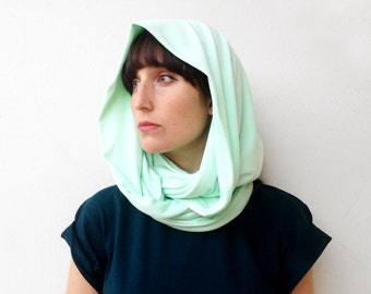 The loop scarf - handmade in light mint cotton jersey fabric