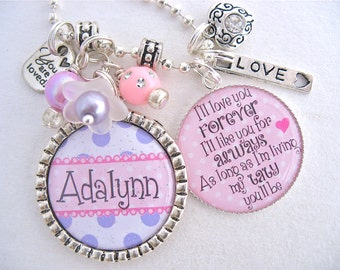 PERSONALIZED CHILDRENS JEWELRY, Childrens Necklace I'll love you forever love you for always, Niece Gift, Charm Necklace, Cousin Gift