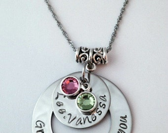 Personalized Family Birthstone Necklace/ Gift for Mom/ Gift for Grandma/ Family Jewelry/